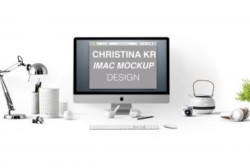 iMac with Desk Elements - Free PSD Mockup