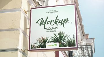 Square Signboard - Free PSD Mockup in 4K Format