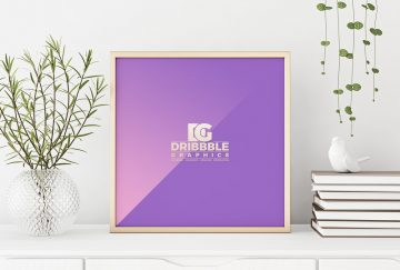 Interior Square Poster Frame - Free PSD Mockup