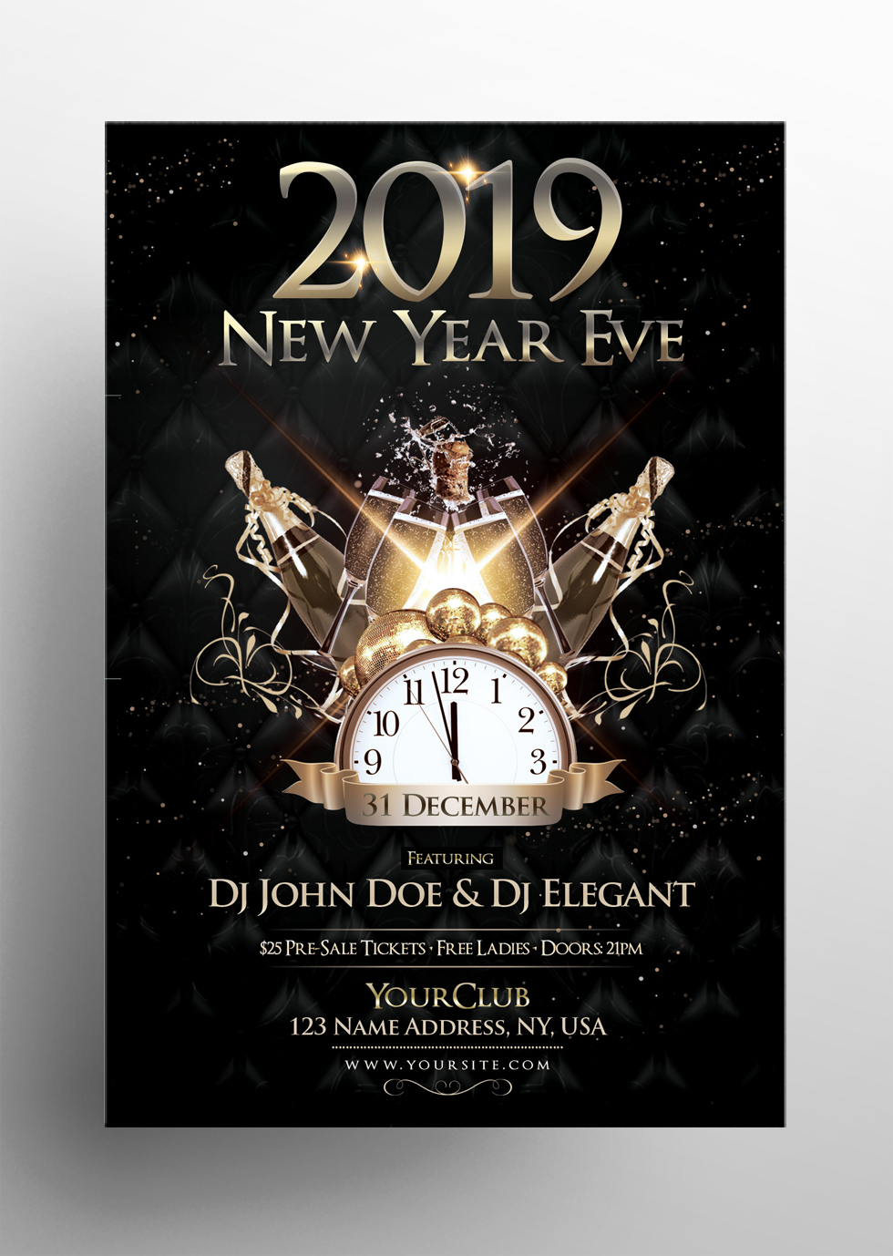 2019 NYE Eve - Black & Gold Free PSD Flyer Template