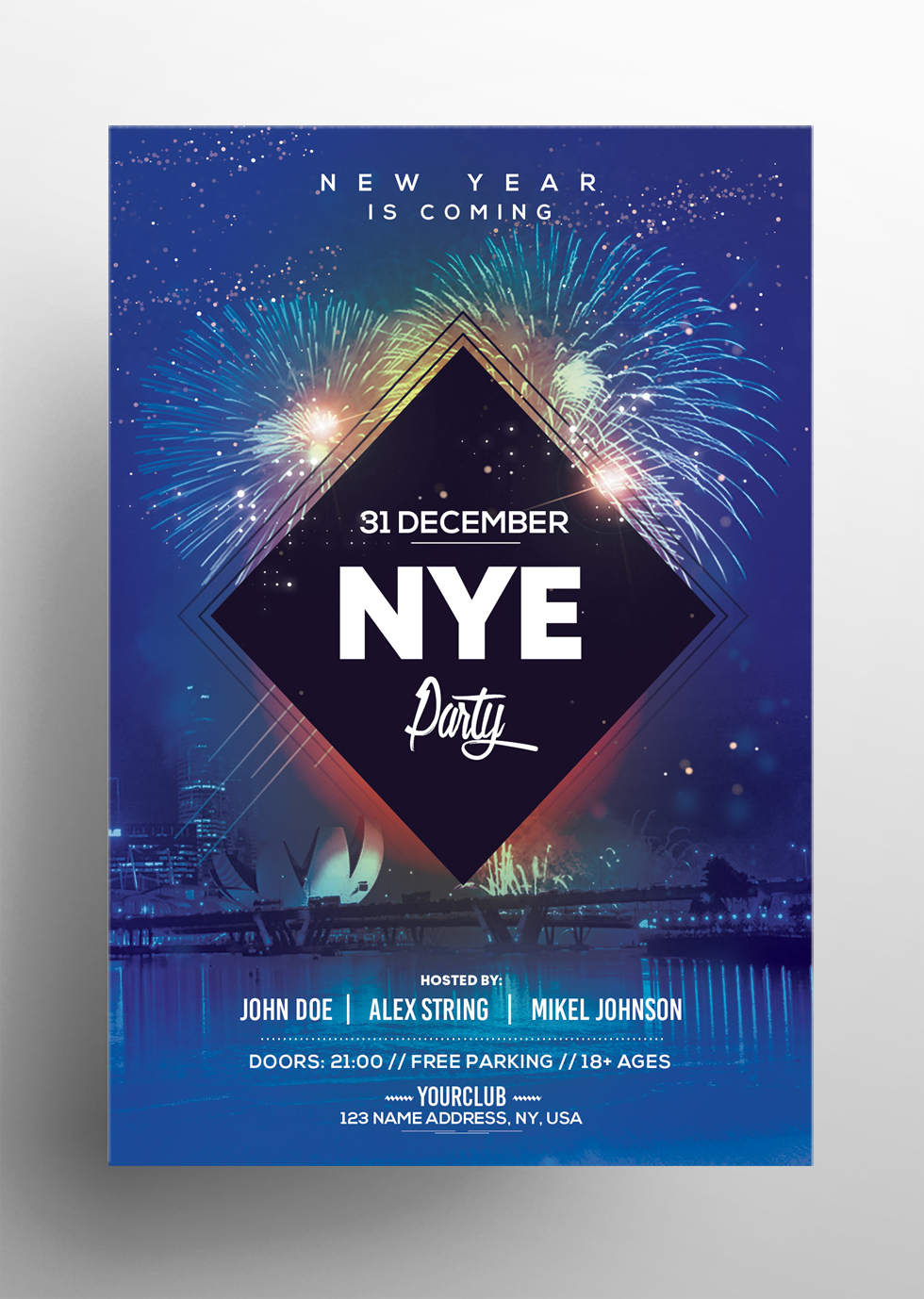 2019 NYE Party - Free New Year PSD Flyer