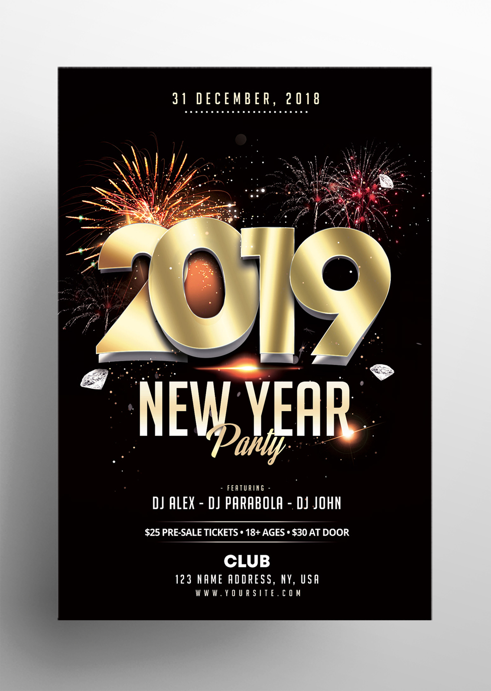 2019 New Year - Elegant Free PSD Flyer Template