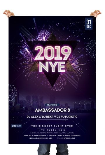 2019 New Year Eve - Free PSD Flyer Template