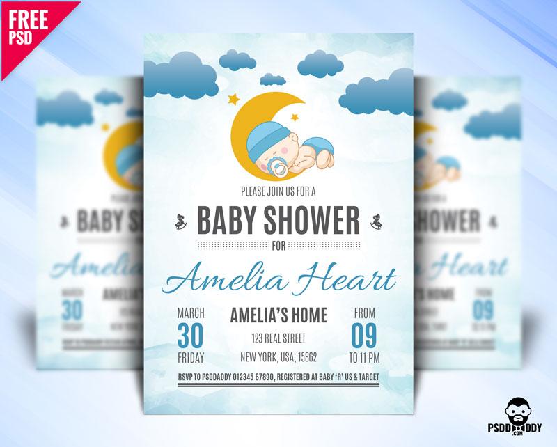 Baby Shower Free PSD Invitation / Flyer