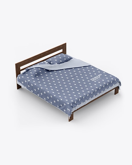 Double Bed with Cotton Linens Free Mockup
