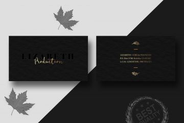Black Business Card with Gold Letter Free PSD Template