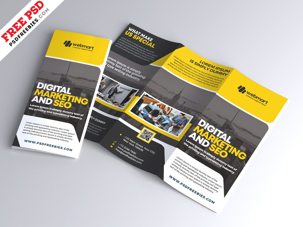 Corporate Tri-Fold Brochure Free PSD Template