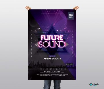 Future Sound - Free Futuristic PSD Flyer Template