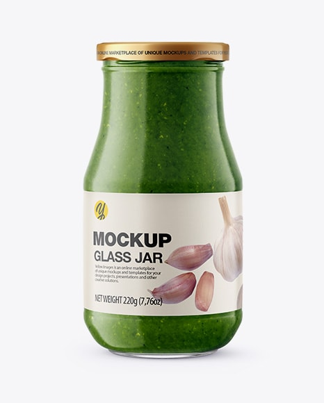Glass Jar with Pesto Sauce Free Mockup