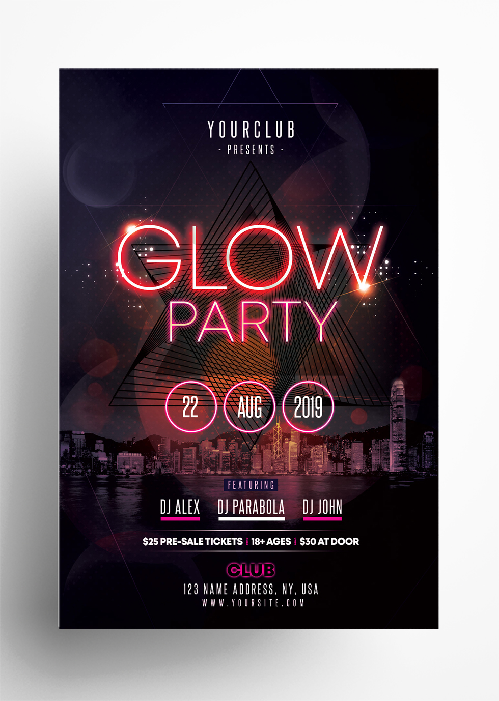 Glow Party - Free PSD Flyer Template