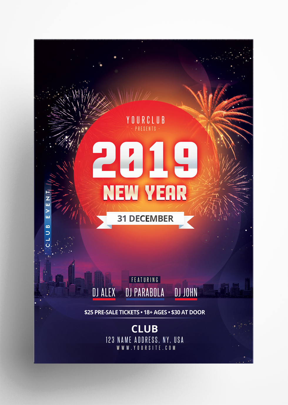 Happy NYE 2019 - Free PSD Flyer Template
