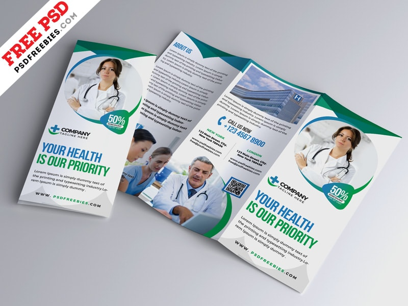 Hospital Medical Business Free PSD Trifold Brochure
