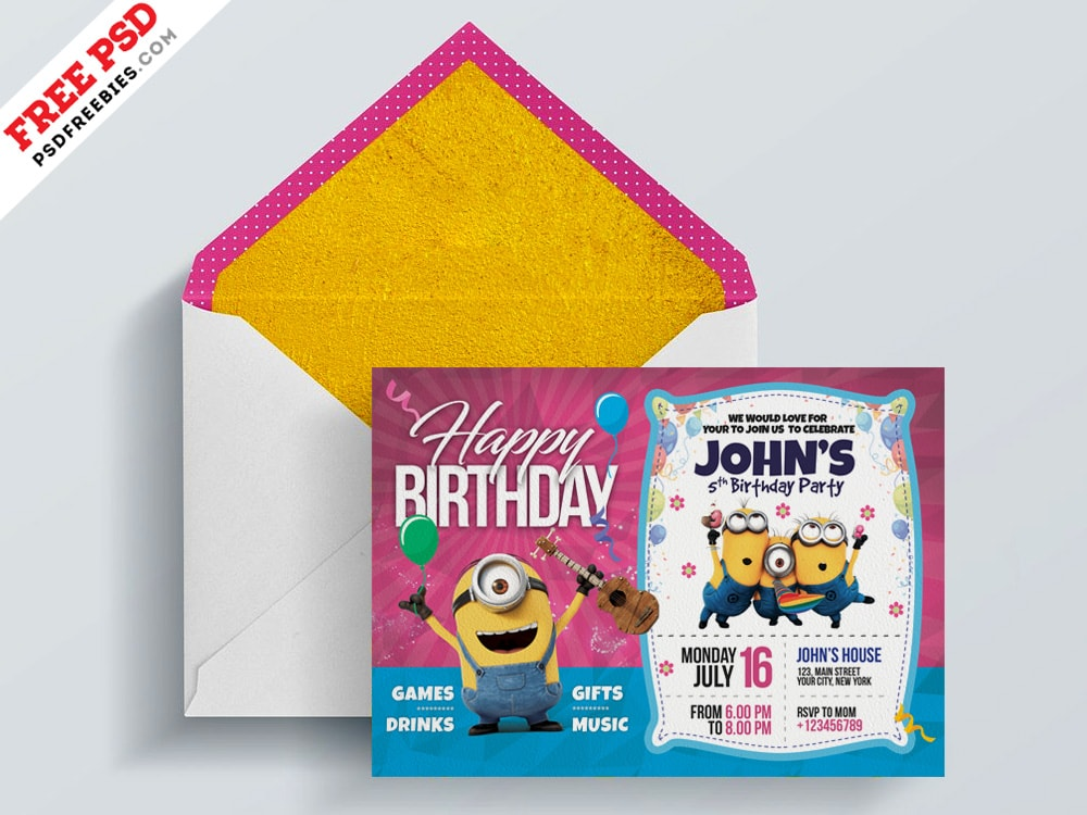 Kids Birthday Invitation Free PSD Card Template