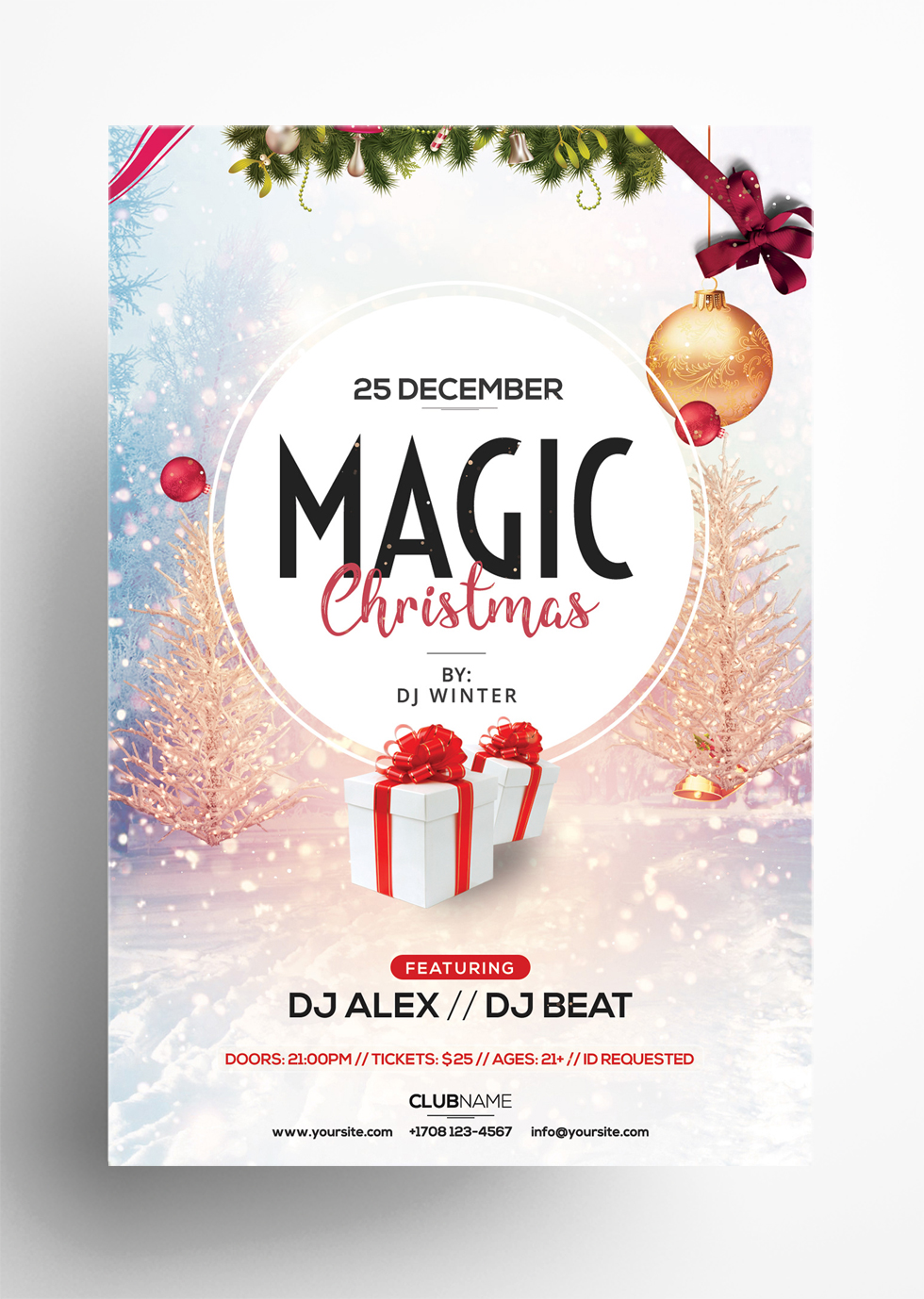 Magic Christmas - Free PSD Flyer Template