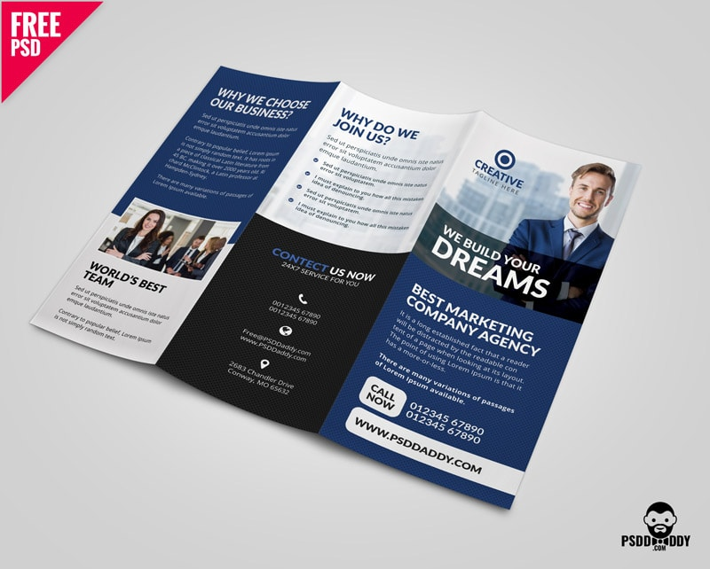Free Corporate Tri-Fold Brochure PSD Template