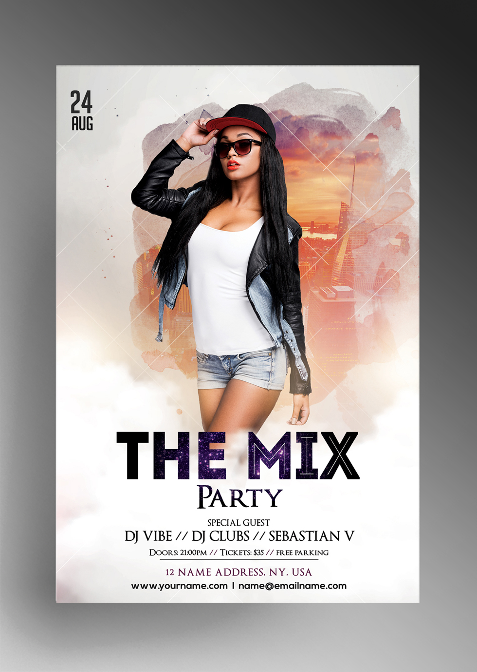 The Mix - Free White Party PSD Flyer Template
