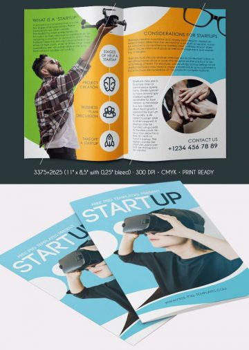 Free Startup Bi-Fold Brochure PSD Template