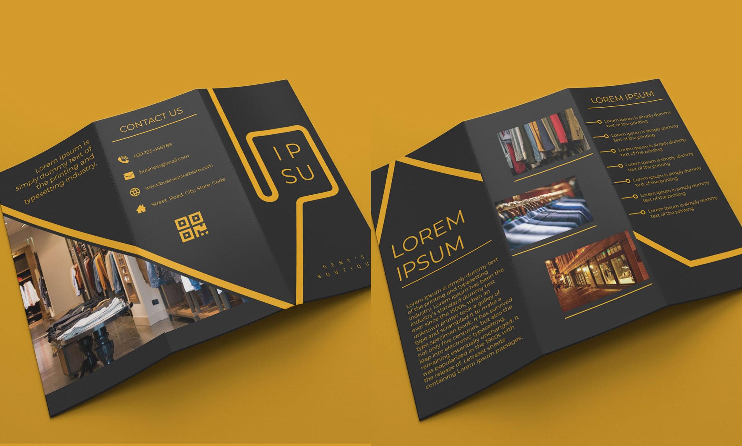Tri-Fold Boutique Brochure Free Template