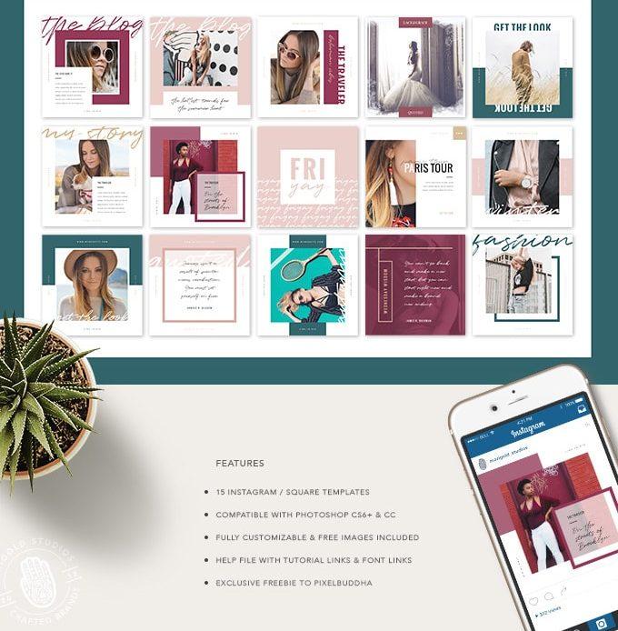15 Classy Instagram Free PSD Templates - Pixelsdesign net