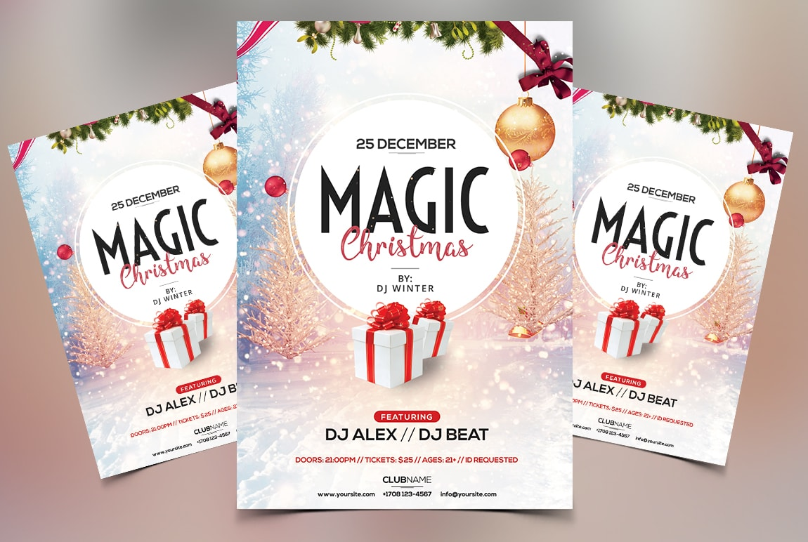 Magic Christmas – Free PSD Flyer Template