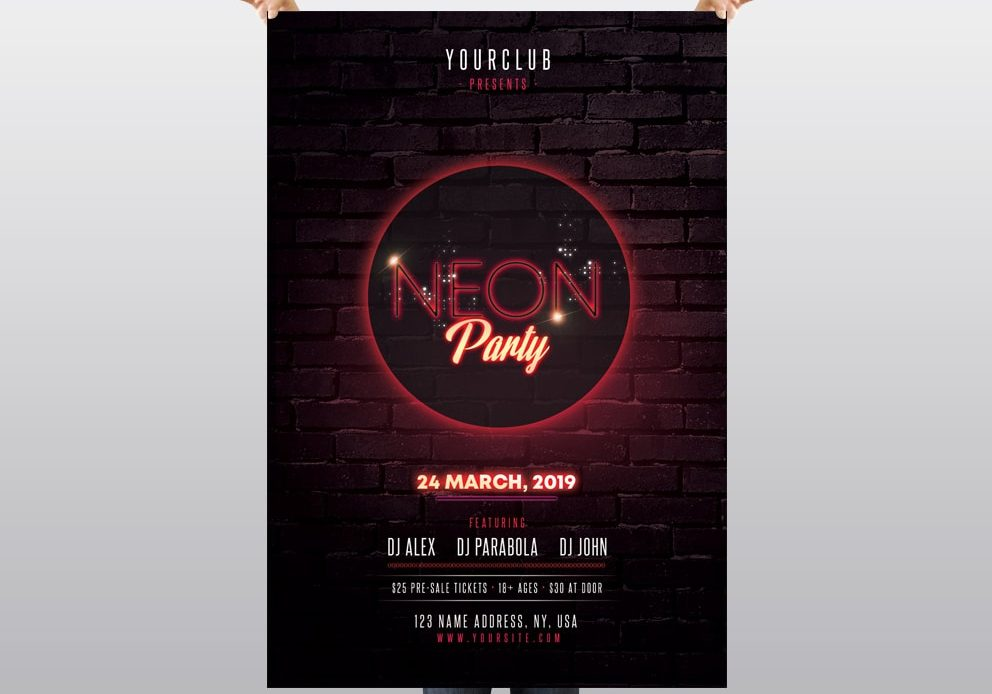 Neon Party - PSD Free Flyer Template