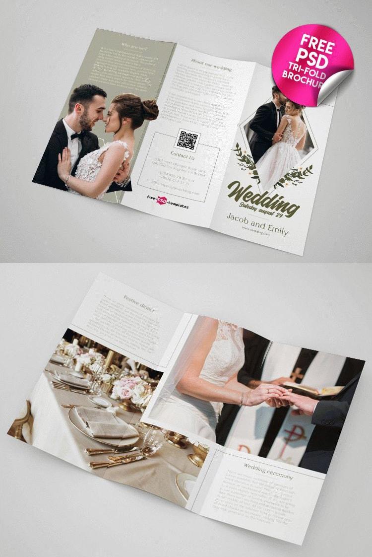 Free Elegant Wedding Tri-Fold PSD Brochure