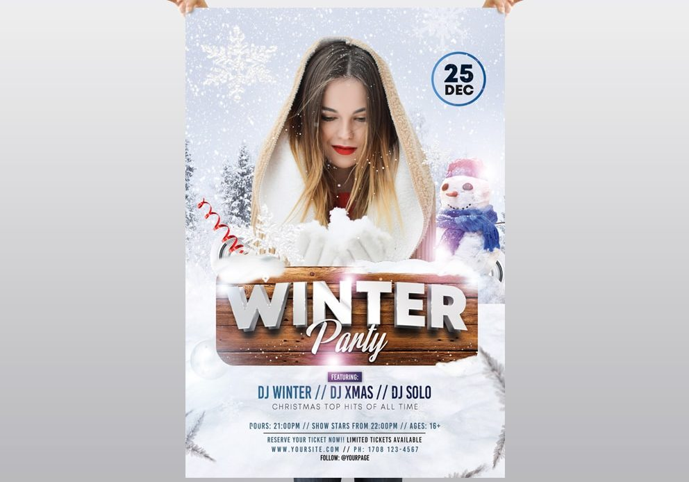 Winter Party Free Psd Flyer Template Pixelsdesign