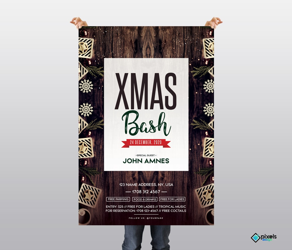 X-Mas Bash 2018 and 2019 - Free PSD Flyer Template
