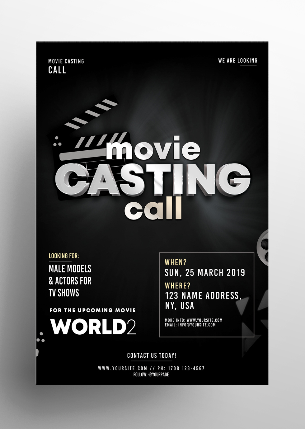 Casting Call - Free PSD Flyer Template