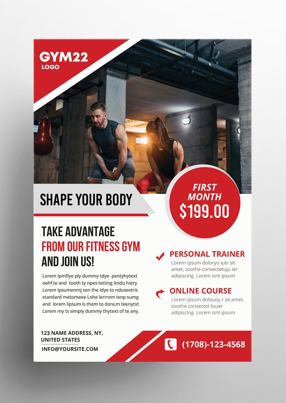 Fitness and Gym Free PSD Flyer Template