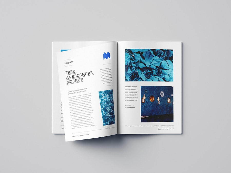 Free A4 Brochure and Magazine Mockup