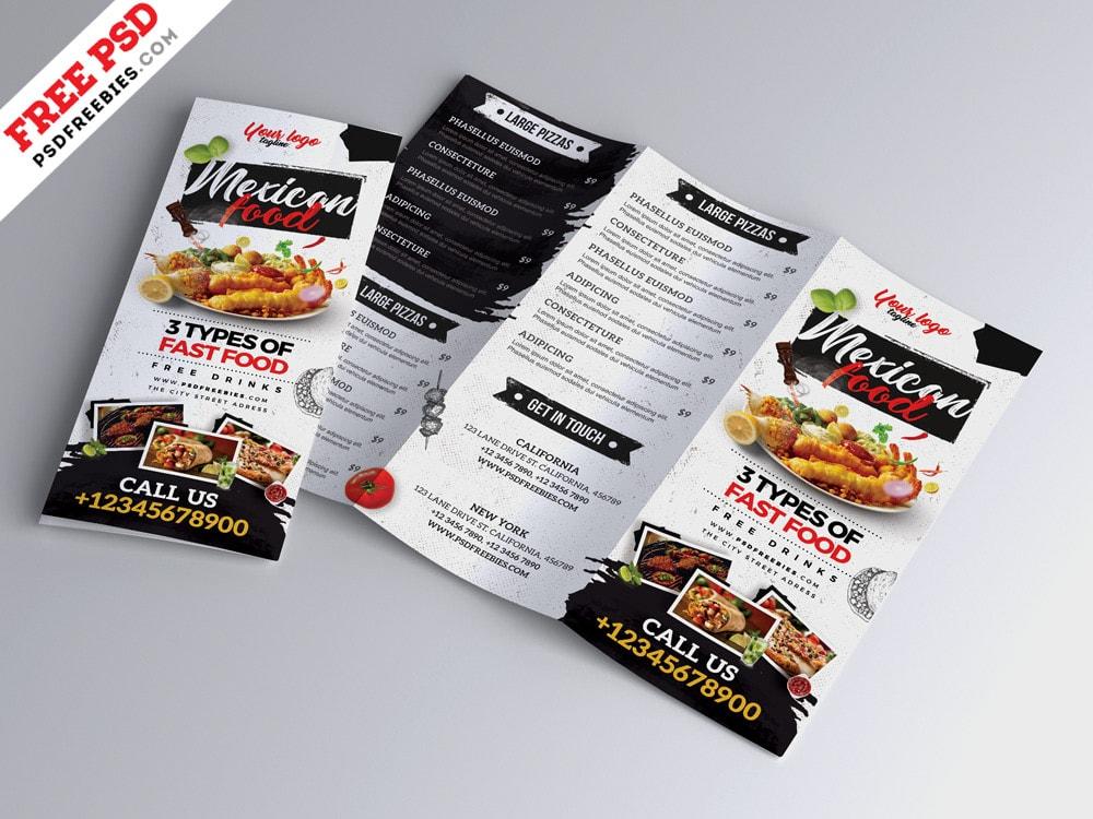 Free Restaurant Cafe Menu Tri-Fold PSD Brochure