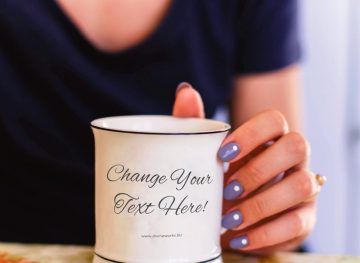 Woman Hand Holding Mug Free Mockup