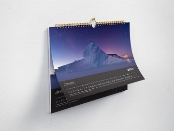 Horizontal Calendar for Wall Free Mockup