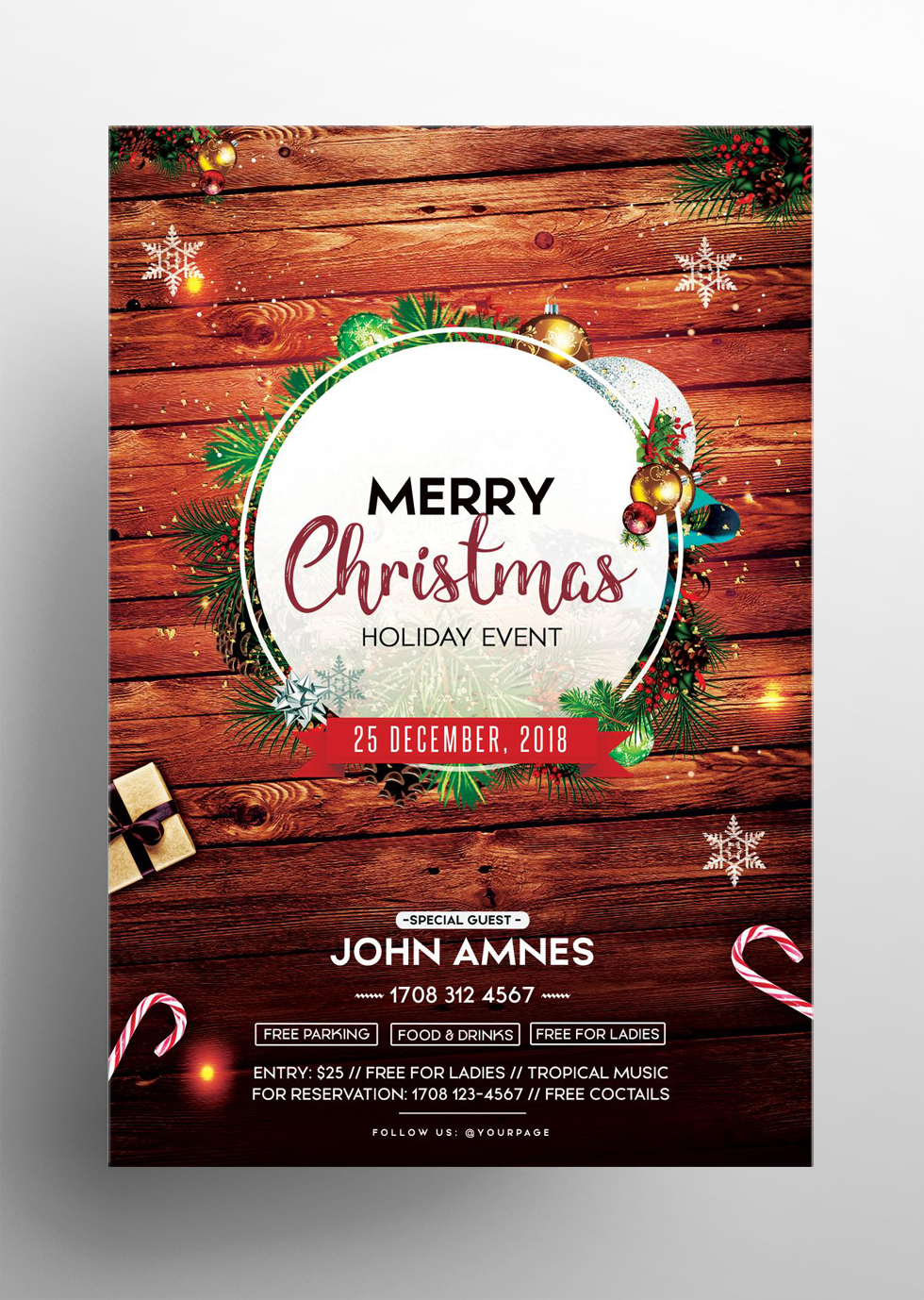 Merry Christmas 2018 Free PSD Flyer Template