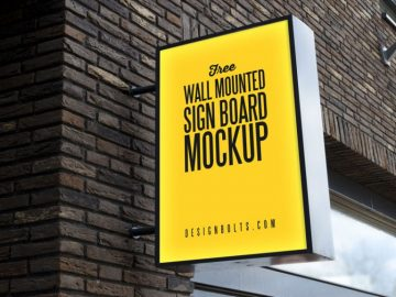 Outdoor Advertising Wall Mounted Sign Free Mockup