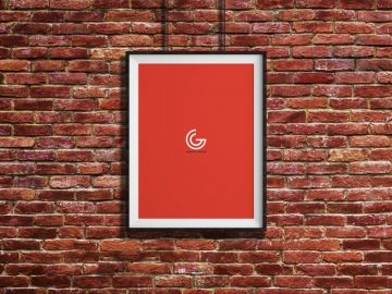 Poster Frame in Brick Wall Free Mockup