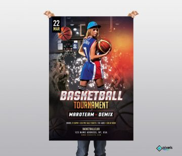 Basketball Tournament Free PSD Flyer Template