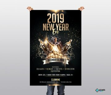 2019 New Year Eve - Luxury Free PSD Flyer Template