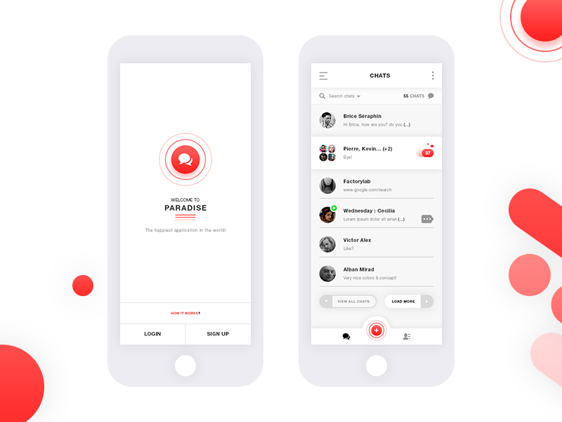 Free Chats App UI Kit Mobile App PSD Template