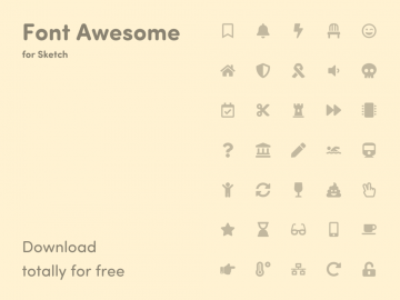 Free Font Awesome Icons – Library for Sketch