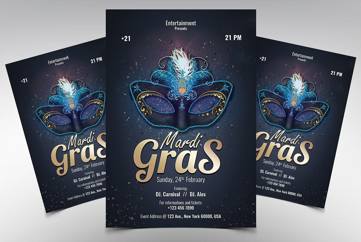 Mardi Gras Carnival Premium PSD Flyer template 20019