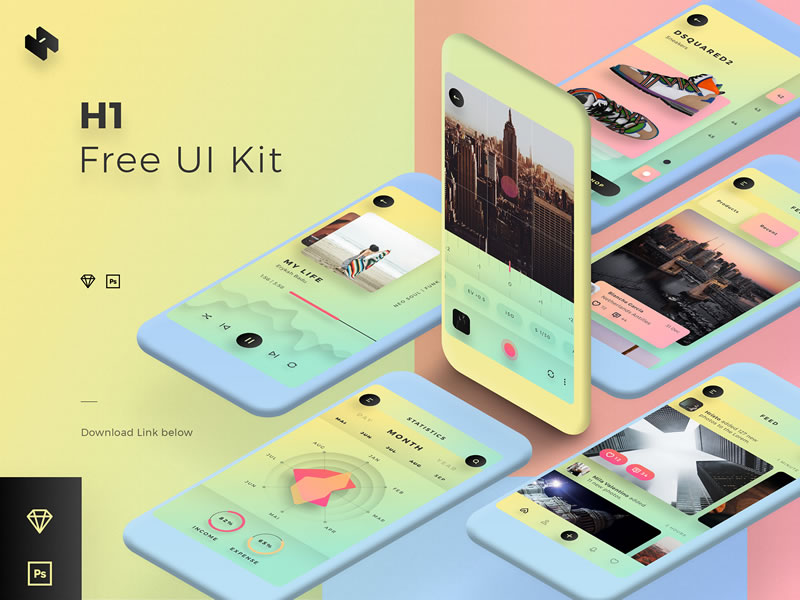 Mobile UI Kit for Sketch & Photoshop Free Templates