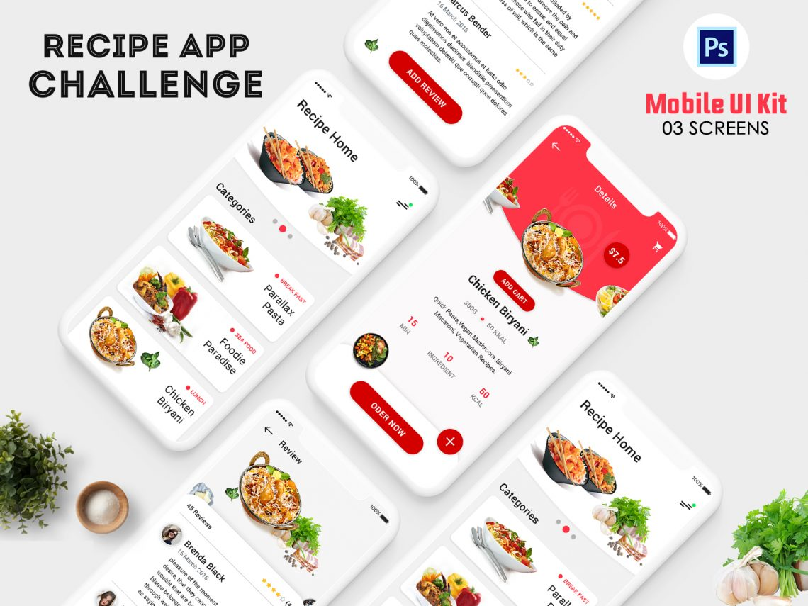 Free iOS Food Recipe App Concept UI