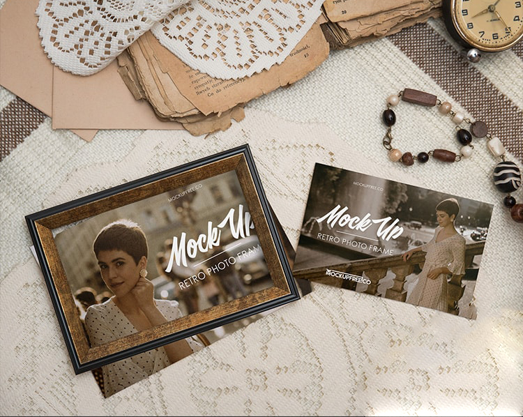 Retro Photo Frame Free Mockup