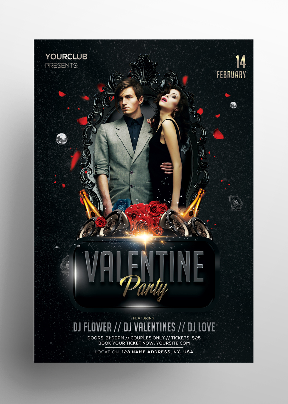 Valentine's Party PSD Free Flyer Template