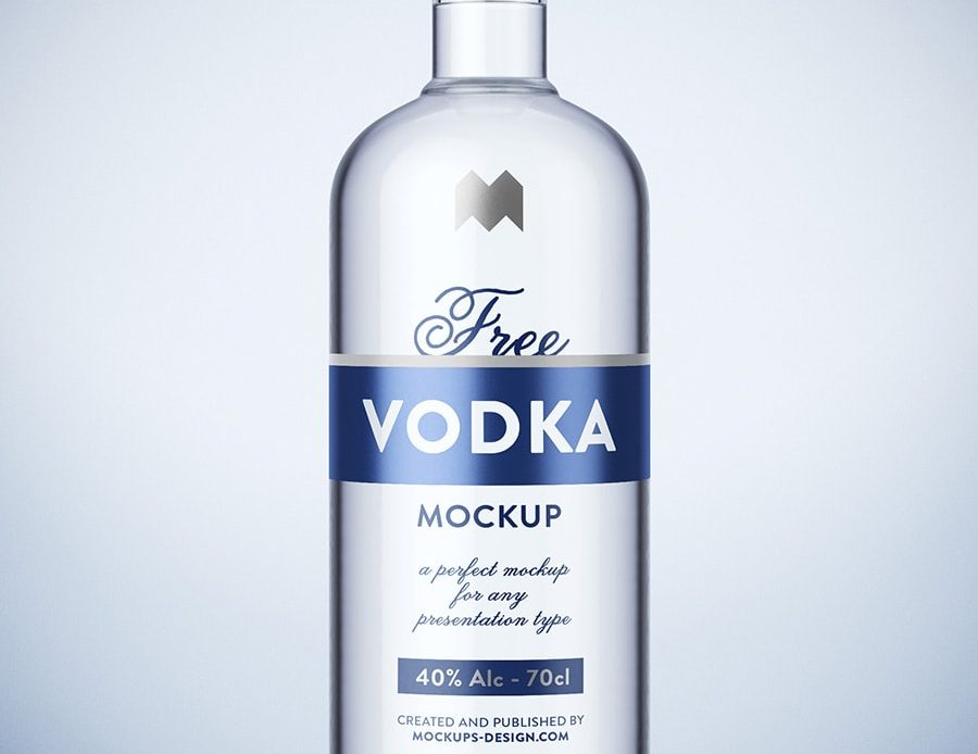 Vodka Bottle Free PSD Mockup