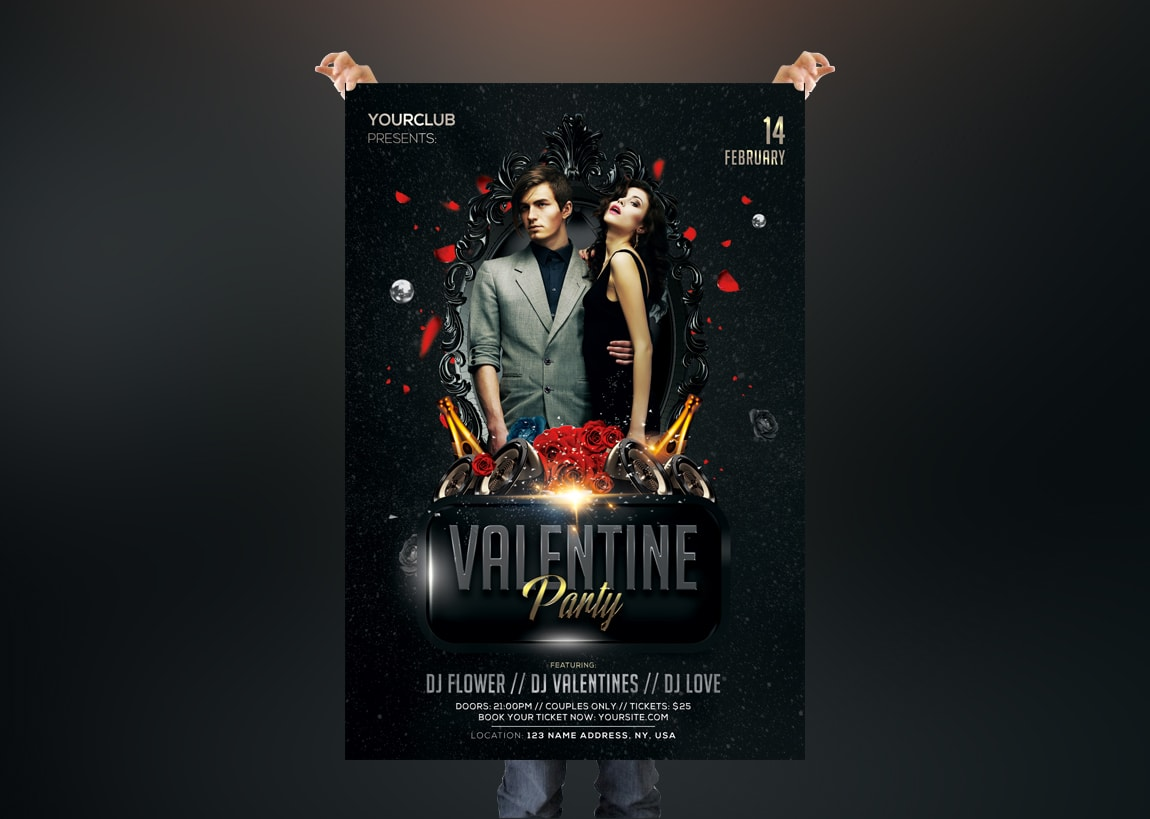 Valentine's Party 2019 PSD Free Flyer Template