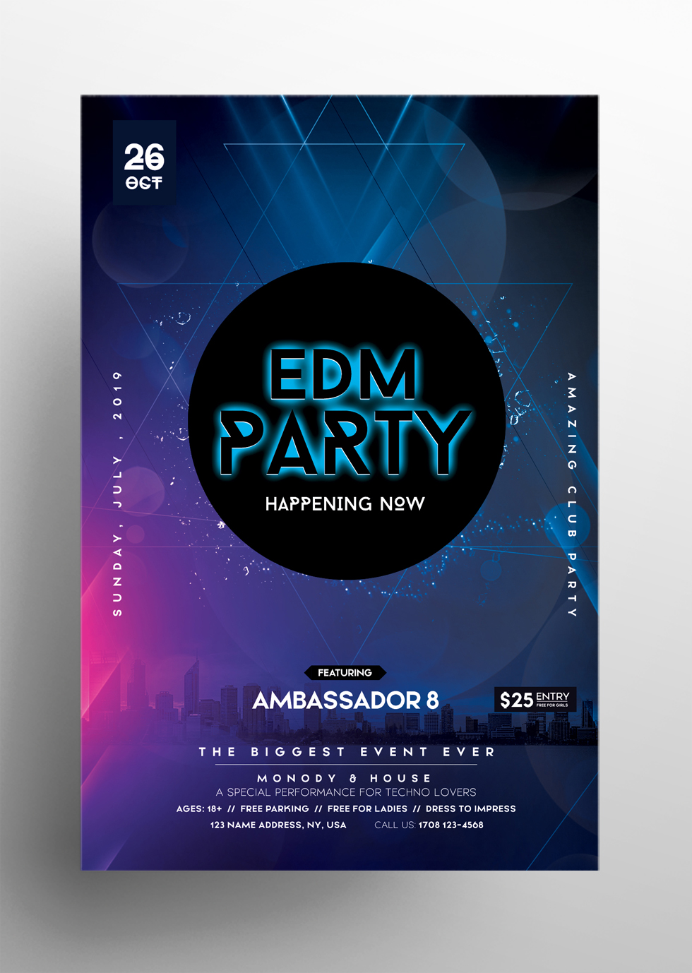 EDM Party - Free Club PSD Flyer Template