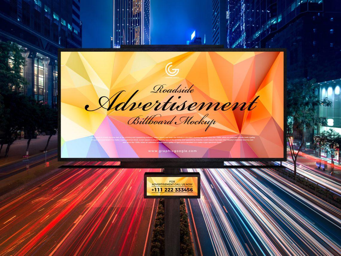 Free Roadside Outdoor Advertisement Hoarding-Billboard Mockup PSD 2019